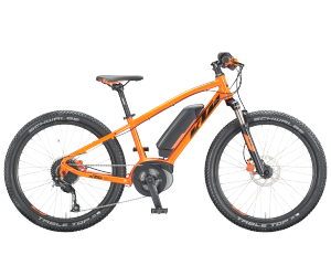 "vtt ktm macina mini me 241 kid/34 space orange black  24"" sh altus 9 batterie Bosch PowerPACK 400Wh"