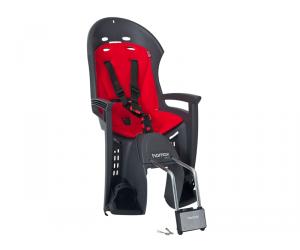 siège enfant Hamax Smiley gris/rougefixation sur cadre, verrouillable